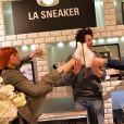 """Exclusif - La danseuse Fauve Hautot, Jean Imbert et Laury Thilleman - """"Reebok Happy Party"""" par Ma Demoiselle Pierre au Printemps Haussmann à Paris, le 9 avril 2015."""