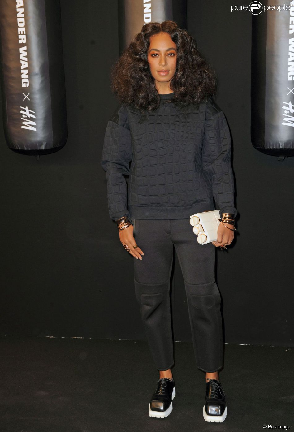 Solange Knowles lors du lancement de la collection capsule Alexander Wang X H&M à New York, le 16 octobre 2014.