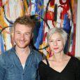 """Florian Carrié et sa compagne Jennifer Antoine au Vernissage de l'exposition de Caroline Faindt à la galerie """"My Web' Art Galerie"""" à Paris. Le 9 avril 2015"""