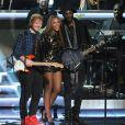 Ed Sheeran, Beyoncé et Gary Clark Jr. au Nokia Theatre L.A. Live à Los Angeles, le 10 février 2015.