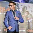 """Robert Downey Jr. en promotion pour la sortie du film """"The Avengers 2"""" à Séoul le 17 avril 2015."""
