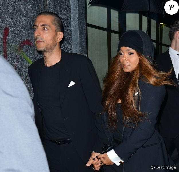Janet Jackson et son mari Wissam Al Mana arrivent au restaurant Armani / Privé pour le dîner des 40 ans de la marque Armani. Milan, le 29 avril 2015.
