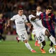 Barcelona's Lionel Messi (right) and Paris Saint-Germain's Blaise Matuidi (centre) battle for the ball during the UEFA Champions League Quarter-Final 2nd Leg football match, FC Barcelona Vs Paris Saint-Germain at Nou Camp Nou in Barcelona, Spain on april 21, 2015. Photo by Adam Davy/EMPICS Sport/ABACAPRESS.COM22/04/2015 - Barcelona