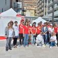 Exclusif - La princesse Stéphanie de Monaco est venue soutenir ses équipes lors de la 6ème édition de Test in the City, initiative de de l'association Fight Aids à Monaco pour le dépistage du sida, le 13 avril 2015