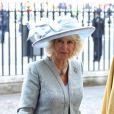 Camilla Parker Bowles. Cérémonie de commémoration pour le 70e anniversaire de la fin de la Seconde Guerre Mondiale à l'abbaye de Westminster à Londres le 9 mai 2015.