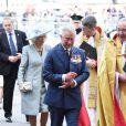 Le prince Charles et Camilla Parker Bowles. Cérémonie de commémoration pour le 70e anniversaire de la fin de la Seconde Guerre Mondiale à l'abbaye de Westminster à Londres le 9 mai 2015.