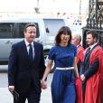 David et Samantha Cameron. Cérémonie de commémoration pour le 70e anniversaire de la fin de la Seconde Guerre Mondiale à l'abbaye de Westminster à Londres le 9 mai 2015.