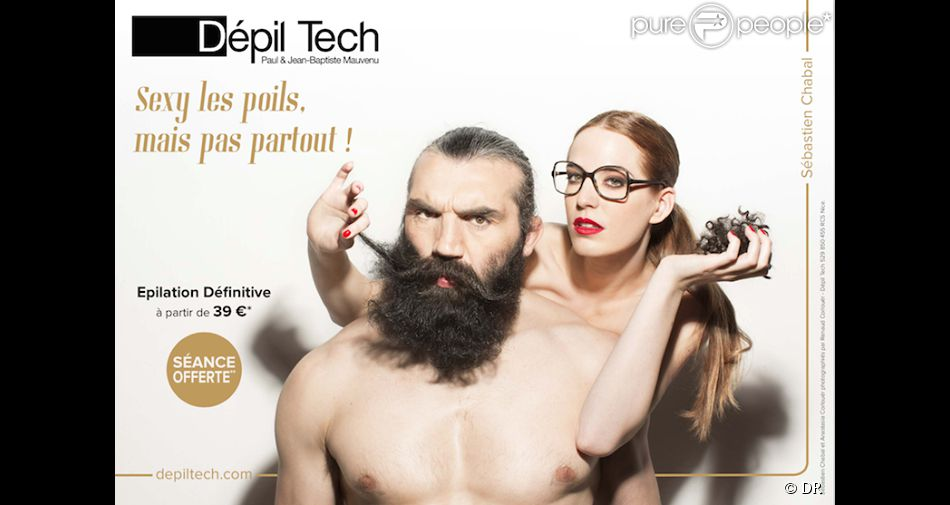 Sébastien Chabal et Anastasia Corlouër dans le nouveau visuel de la campagne de pub Dépil Tech