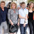 """Benoit Magimel, Catherine Deneuve, Rod Paradot et Sara Forestier - Photocall du film """"La Tête haute"""" (hors compétition) lors du 68ème festival de Cannes le 13 mai 2015"""
