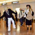 Johnny Depp et sa fiancée Amber Heard arrivent à l'aéroport de Tokyo. Le 26 janvier 2015