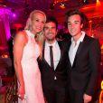 Exclusif - Elodie Gossuin-Lacherie, Alex Goude, son mari Romain - Dîner du Global Gift Gala, organisé au Four Seasons Hôtel George V à Paris, le 25 mai 2015.