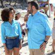 Laurent Ournac et Aurélie Konaté sur le tournage de  Camping Paradis  (épisode diffusé le mardi 23 juin 2015 à 20h55 sur TF1).
