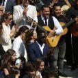 Exclusif - Omar Sy et sa femme Hélène, Chico Bouchikhi (Chico and the Gypsies) - Mariage religieux de Vincent Labrune, Président de l'Olympique de Marseille, et Laetitia de Luca à l'église collégiale Saint-Martin de Saint-Rémy-de-Provence, le 6 juin 2015.