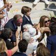 Exclusif - David Pujadas, Julien Arnaud, Vincent Labrune et Laetitia de Luca - Mariage religieux de Vincent Labrune, Président de l'Olympique de Marseille, et Laetitia de Luca à l'église collégiale Saint-Martin de Saint-Rémy-de-Provence, le 6 juin 2015.