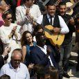 Exclusif - Omar Sy et sa femme Hélène - Mariage religieux de Vincent Labrune, Président de l'Olympique de Marseille, et Laetitia de Luca à l'église collégiale Saint-Martin de Saint-Rémy-de-Provence, le 6 juin 2015.