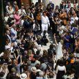 Exclusif - Vincent Labrune, Laetitia de Luca, Chico Bouchikhi (Chico and the Gypsies) - Mariage religieux de Vincent Labrune, Président de l'Olympique de Marseille, et Laetitia de Luca à l'église collégiale Saint-Martin de Saint-Rémy-de-Provence, le 6 juin 2015.