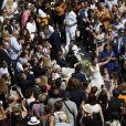 Exclusif - Vincent Labrune, Laetitia de Luca, Julien Arnaud, David Pujadas - Mariage religieux de Vincent Labrune, Président de l'Olympique de Marseille, et Laetitia de Luca à l'église collégiale Saint-Martin de Saint-Rémy-de-Provence, le 6 juin 2015.