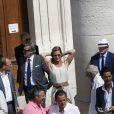 Exclusif - Etienne Mougeotte - Mariage religieux de Vincent Labrune, Président de l'Olympique de Marseille, et Laetitia de Luca à l'église collégiale Saint-Martin de Saint-Rémy-de-Provence, le 6 juin 2015.