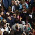 Exclusif - Omar Sy et sa femme Hélène, Vincent Labrune, Laetitia de Luca - Mariage religieux de Vincent Labrune, Président de l'Olympique de Marseille, et Laetitia de Luca à l'église collégiale Saint-Martin de Saint-Rémy-de-Provence, le 6 juin 2015.
