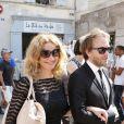 Exclusif - Marine Delterme et son mari Florian Zeller - Mariage religieux de Vincent Labrune, Président de l'Olympique de Marseille, et Laetitia de Luca à l'église collégiale Saint-Martin de Saint-Rémy-de-Provence, le 6 juin 2015.