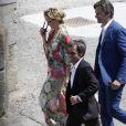 Exclusif - David Pujadas, Laurent Solly et sa femme Caroline Roux- Mariage religieux de Vincent Labrune, Président de l'Olympique de Marseille, et Laetitia de Luca à l'église collégiale Saint-Martin de Saint-Rémy-de-Provence, le 6 juin 2015.