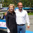 Le catamaran GC32 ENGIE de Sébastien Rogues a officiellement été baptisé par Claire Chazal, marraine du bateau, et Gérard Mestrallet, PDG d'ENGIE à la Défense à Paris. Mercredi 10 juin 2015.