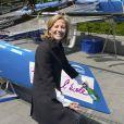 Le catamaran GC32 ENGIE a officiellement été baptisé par Claire Chazal, marraine du bateau, et Gérard Mestrallet, PDG d'ENGIE à la Défense à Paris. Mercredi 10 juin 2015.