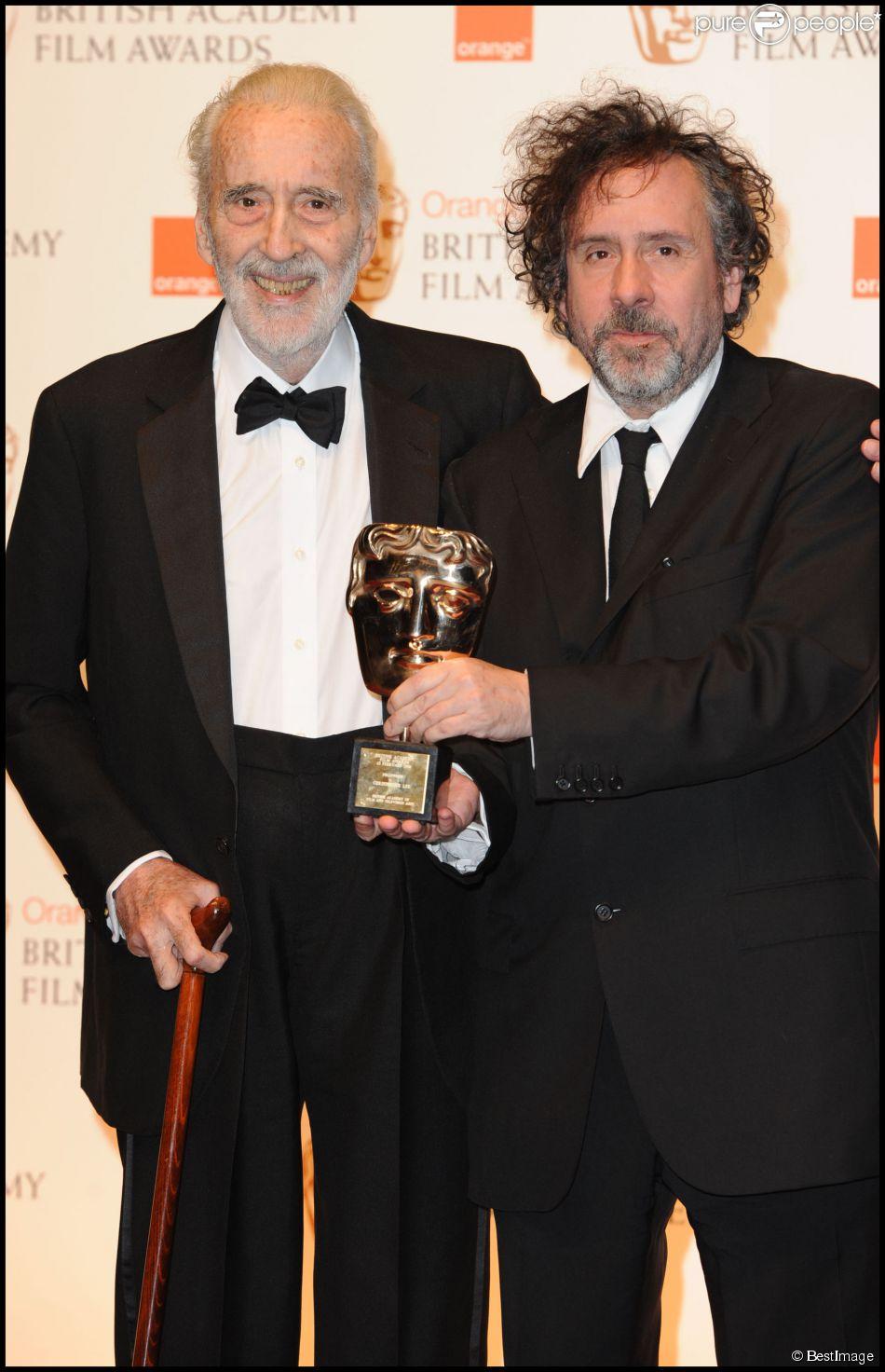Tim Burton et Christopher Lee lors des BAFTA 2011