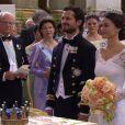 Image du mariage du prince Carl Philip de Suède et de la princesse Sofia (née Hellqvist) le 13 juin 2015 à Stockholm, retransmis en direct par la chaîne publique SVT.