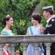 La princesse Marie, la princesse Mary et le prince Joachim de Danemark - Les invités au balcon du palais royal à la fin de la cérémonie de mariage à Stockholm. Le 13 juin 2015.  Guest at the balcony of the Royal Palace at the end of the wedding ceremony in Stockholm, on June 13, 2015.13/06/2015 - Stockholm