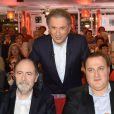 """Yvan Cassar, Michel Delpech, Roberto Alagna, Franck Dubosc et Michel Drucker - Enregistrement de l'émission """"Vivement dimanche"""" à Paris le 15 octobre 2014."""