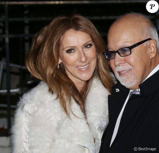 """Céline Dion et son mari René Angelil arrivent à l'enregistrement de l'émission """"Vivement dimanche"""" au studio Gabriel à Paris le 13 novembre 2013."""