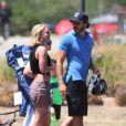 Britney Spears regarde ses fils jouer au football en compagnie de son nouveau petit ami à Woodland Hills le 30 mai 2015.