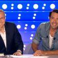 Laurent Ruquier et Nicolas Bedos dans  On n'est pas couché  sur France 2, le samedi 27 juin 2015.