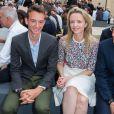Frédéric Arnault, Delphine Arnault et Pietro Beccari - Défilé Berluti printemps-été 2016 au musée Picasso à Paris le 26 juin 2015.
