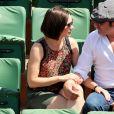 Jean Dujardin et sa compagne Nathalie Péchalat lors de la finale des Internationaux de France à Roland-Garros, le 7 juin 2015 à Paris