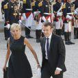 Emmanuel Macron et sa femme Brigitte Trogneux - Dîner d'Etat en l'honneur du Felipe VI et la reine Letizia d'Espagne, reçus par François Hollande, président de la République française, au Palais de l'Elysée à Paris le 2 juin 2015.