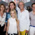 Exclusif - Virginie Coupérie Eiffel, Coco Coupérie-Eiffel, Jean Rochefort et sa fille Louise Rochefort - People lors du Longines Paris Eiffel Jumping au Champ-de-Mars à Paris, le 4 juillet 2015.