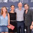 Exclusif - Coco Coupérie-Eiffel, Chrislaure Nollet, son mari Franck Leboeuf et Christophe Bonnat - People lors du Longines Paris Eiffel Jumping au Champ-de-Mars à Paris, le 4 juillet 2015.