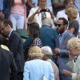 Pippa Middleton et son frère James Middleton sont tombés sur... David Beckham et sa mère Sandra le 9 juillet 2015 lors des demi-finales du tableau féminin du tournoi de Wimbledon, à Londres.
