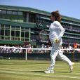 Amélie Mauresmo, enceinte, à l'entraînement avec Andy Murray le 9 juillet 2015 à Wimbledon à la veille de la demi-finale de l'Ecossais contre Roger Federer.