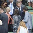 Pippa Middleton et James Middleton rencontrant David Beckham et sa mère Sandra à Wimbledon le 9 juillet 2015.
