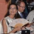 La princesse Caroline de Hanovre le 10 juillet 2015 dans la Salle des Etoiles au Sporting de Monte-Carlo lors du gala annuel au profit de l'association Fight Aids Monaco, présidée par la princesse Stéphanie de Monaco.