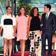 La princesse Stéphanie de Monaco avec ses enfants Pauline Ducruet, Camille Gottlieb et Louis Ducruet à leur arrivée le 10 juillet 2015 au Sporting de Monte-Carlo lors du gala annuel au profit de l'association Fight Aids Monaco, présidée par la princesse Stéphanie de Monaco.