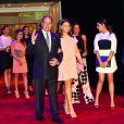 Le prince Albert II de Monaco avec sa nièce Camille Gottlieb à son bras, la princesse Stéphanie de Monaco, Pauline Ducruet et Louis Ducruet le 10 juillet 2015 dans la Salle des Etoiles au Sporting de Monte-Carlo lors du gala annuel au profit de l'association Fight Aids Monaco, présidée par la princesse Stéphanie de Monaco.