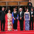 """Robbie Ryan, guest, Rebecca O'Brien, Ken Loach, Simone Kirby, Barry Ward, Aisling Franciosi et Paul Laverty - Montée des marches du film """"Jimmy's Hall"""" lors du 67 ème Festival du film de Cannes – Cannes le 22 mai 2014."""