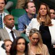 Thierry Henry et sa compagne enceinte, Andrea Rajacic lors de la finale de Wimbledon au All England Lawn Tennis and Croquet Club, à Londres, le 12 juillet 2015