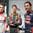 Les Français Jules Bianchi, Romain Grosjean et Jean-Eric Vergne lors du Grand Prix d'Australie à Melbourne, le 13 mars 2014