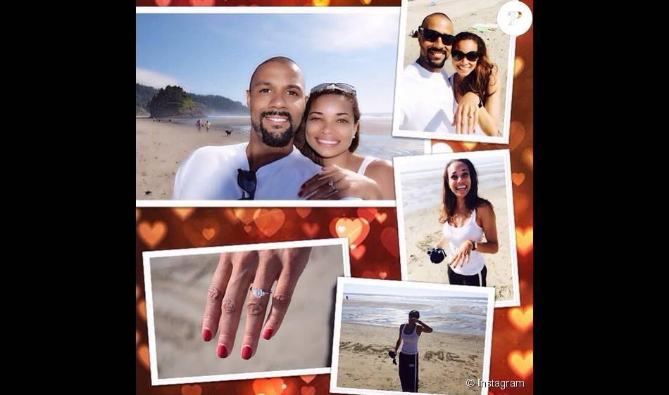 Rochelle Aytes de la série  Mistresses  et CJ Lindsey se sont fiancés / juillet 2015