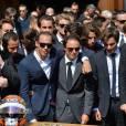 Pastor Maldonado, Felipe Massa, Christine Bianchi, Jean-Eric Vergne et les pilotes de Formule 1 lors des obsèques de Jules Bianchi en la cathédrale Sainte-Réparate à Nice, le 21 juillet 2015